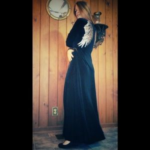 Dark Angel Sequin Wings Gothic Velvet Maxi Dress